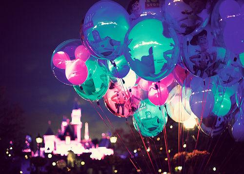 amazing rainbow colors of Disney balloons